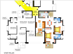Floor Plan of Piyush Heights 2 BHK Flats in Faridabad