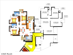 Floor Plan of Piyush Heights 3 BHK Flat in Faridabad